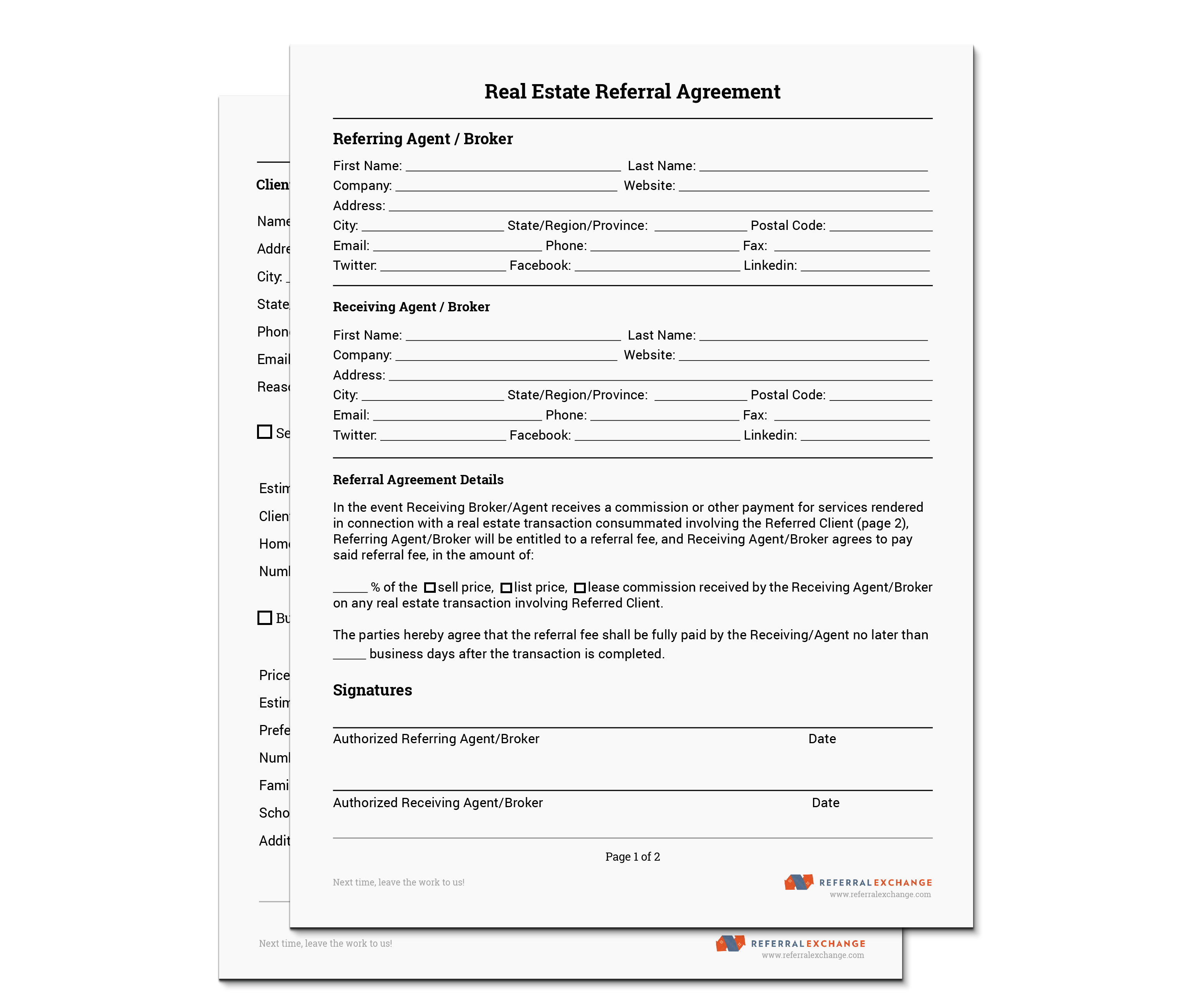REALTOR Referral Form Free Download