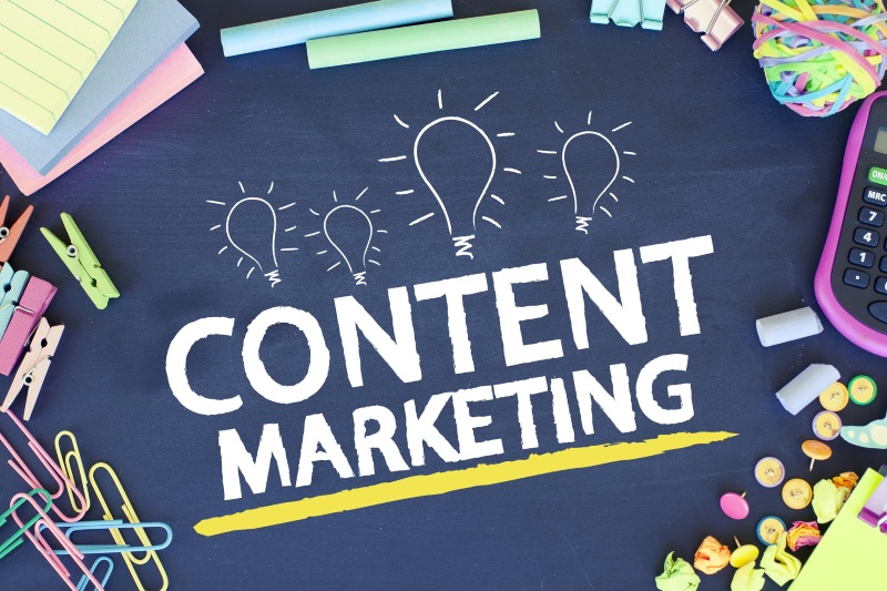 Content marketing strategy and ideas concept background